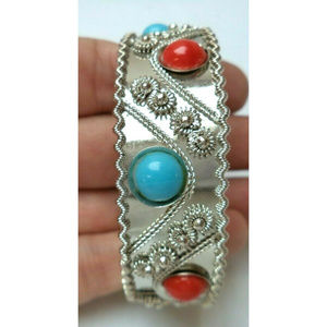silver coral turquoise tone bangle bracelet